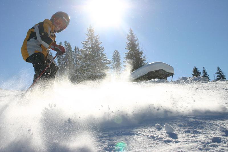 Jugendlicher Schifahrer im Pulverschnee in Kirchberg in Tirol