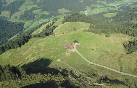 Luftaufnahme der Kleinmoosalm des Peternhofes in Kirchberg in Tirol